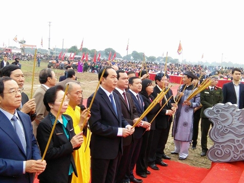 Chủ tịch nước Trần Đại Quang dự Lễ hội Tịch điền Đọi Sơn năm 2017