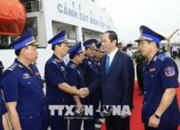 Chủ tịch nước Trần Đại Quang thăm, chúc Tết cán bộ, chiến sĩ vùng Cảnh sát biển 3