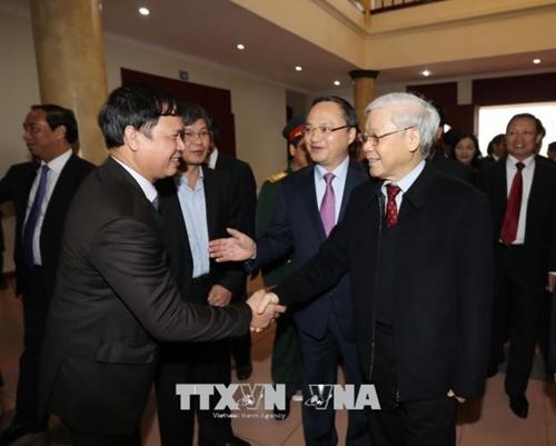 Tổng Bí thư Nguyễn Phú Trọng thăm, chúc Tết Đảng bộ, chính quyền, nhân dân tỉnh Hưng Yên 