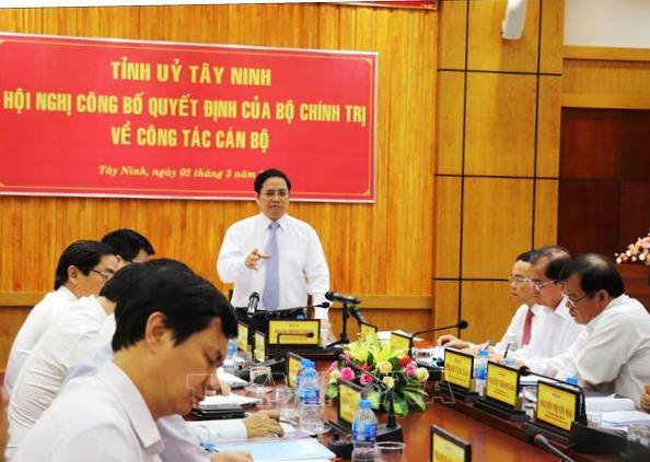 Trưởng ban Tổ chức Trung ương Phạm Minh Chính làm việc tại Tây Ninh