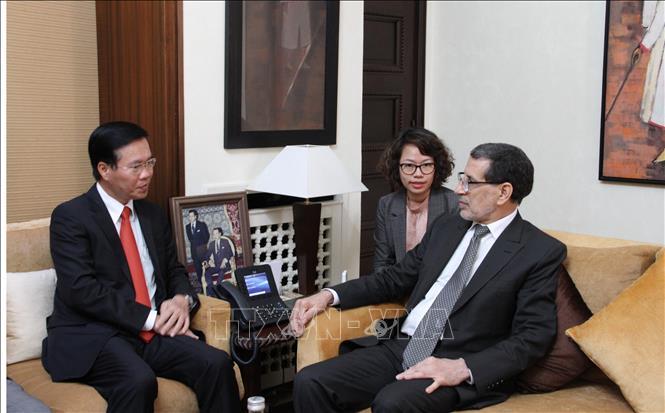 Đồng chí Võ Văn Thưởng hội kiến Thủ tướng và Chủ tịch Hạ viện Maroc