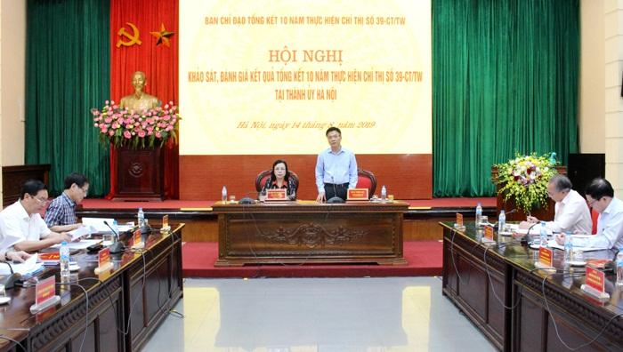 Khảo sát việc thực hiện Chỉ thị 39-CT TW trên địa bàn Thành phố Hà Nội