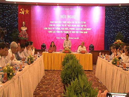 Giao ban Chỉ thị 05 của Bộ Chính trị các tỉnh, thành phố khu vực phía Nam