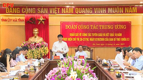 Đoàn kiểm tra, khảo sát Ban Tuyên giáo TW làm việc với Nghệ An, Hà Tĩnh về tình hình triển khai thực hiện nghị quyết