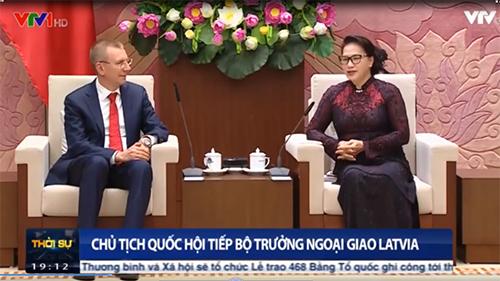 Chủ tịch Quốc hội tiếp Bộ trưởng Ngoại giao Latvia