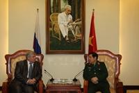 Đại tướng Phùng Quang Thanh tiếp Đoàn Phân ban Nga trong Uỷ ban liên Chính phủ Nga-Việt về hợp tác kỹ thuật quân sự