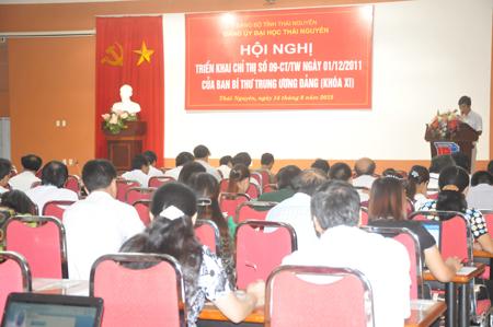 Đảng ủy Đại học Thái Nguyên quán triệt Chỉ thị số 09-CT TW của Ban Bí thư