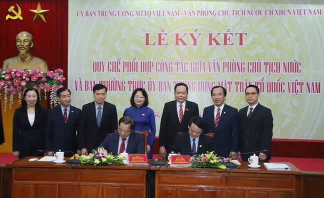 Tăng cường Quy chế phối hợp Uỷ ban Trung ương MTTQ Việt Nam với Văn phòng Chủ tịch nước