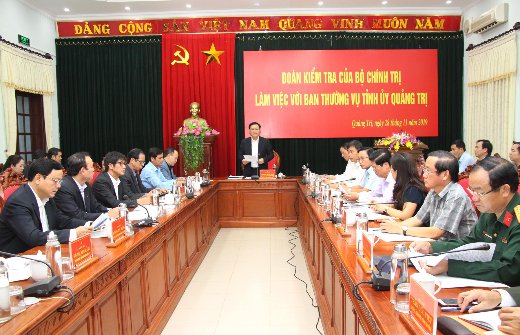 Đoàn kiểm tra của Bộ Chính trị làm việc với Ban Thường vụ Tỉnh ủy Quảng Trị