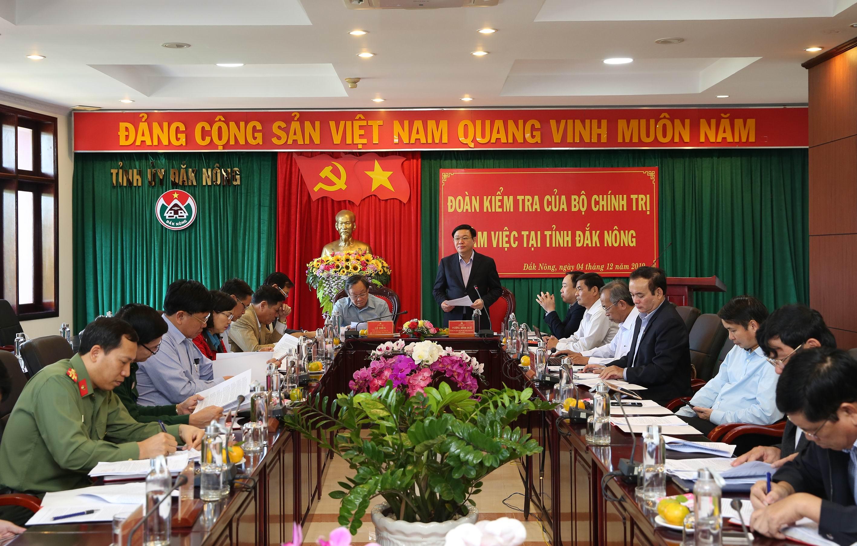 Đoàn kiểm tra của Bộ Chính trị làm việc với Ban Thường vụ tỉnh ủy Đắk Nông