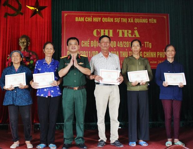 Ban CHQS thị xã Quảng Yên Quảng Ninh  Quan tâm giải quyết chế độ chính sách cho các đội tượng
