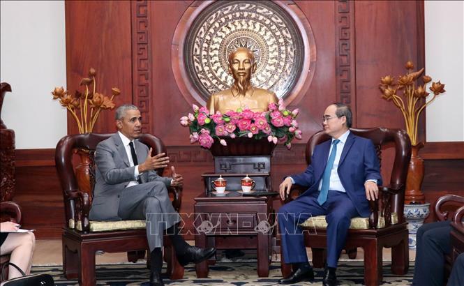 Đồng chí Nguyễn Thiện Nhân tiếp cựu Tổng thống Hoa kỳ Barack Obama