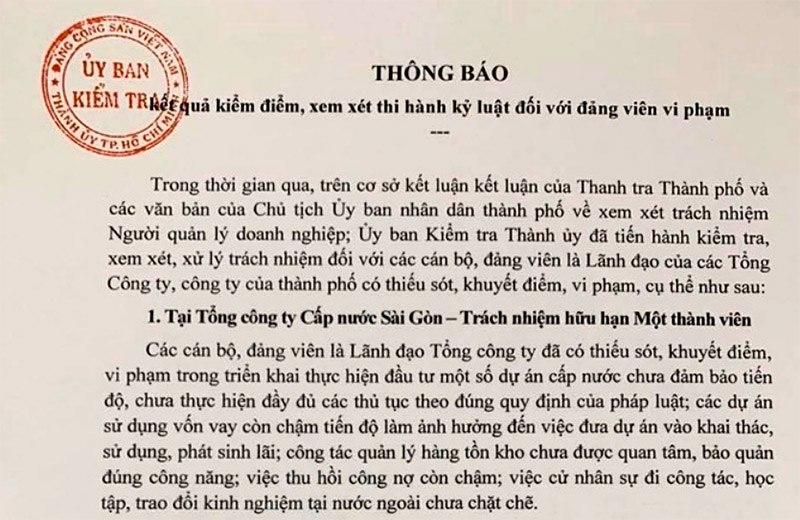 TP Hồ Chí Minh kỷ luật nhiều cán bộ lãnh đạo các công ty, tổng công ty