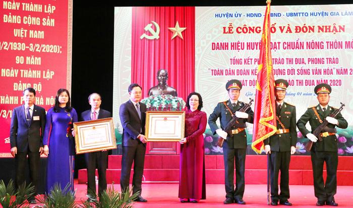 Hà Nội Gia Lâm đón nhận danh hiệu huyện nông thôn mới