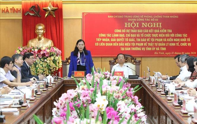 Đoàn công tác của Ban chỉ đạo Trung ương về phòng, chống tham nhũng làm việc tại tỉnh Hà Tĩnh