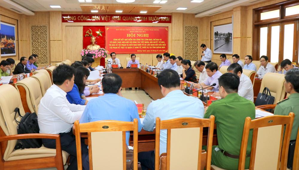 Công bố kết quả kiểm tra về phòng chống, tham nhũng tại Quảng Ngãi