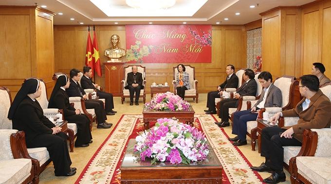 Trưởng ban Dân vận Trung ương tiếp đoàn đại biểu Tòa Giám mục Hưng Hóa