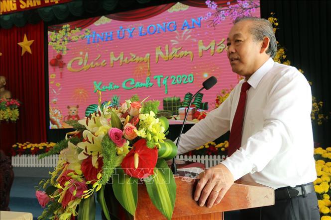 Phó Thủ tướng Thường trực Chính phủ Trương Hòa Bình chúc tết Đảng bộ, chính quyền và nhân dân tỉnh Long An