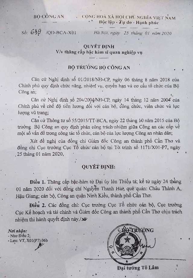 Thăng quân hàm, đề nghị công nhận liệt sĩ cho Đại úy Công an hi sinh khi bảo vệ Tết