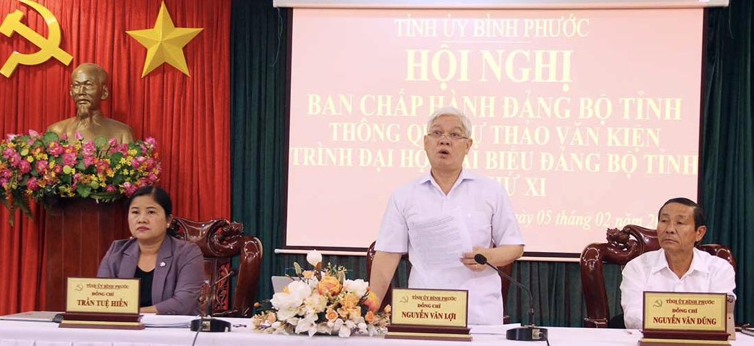 Bình Phước Thông qua dự thảo văn kiện Đại hội Đảng bộ tỉnh lần thứ XI và kiện toàn nhân sự