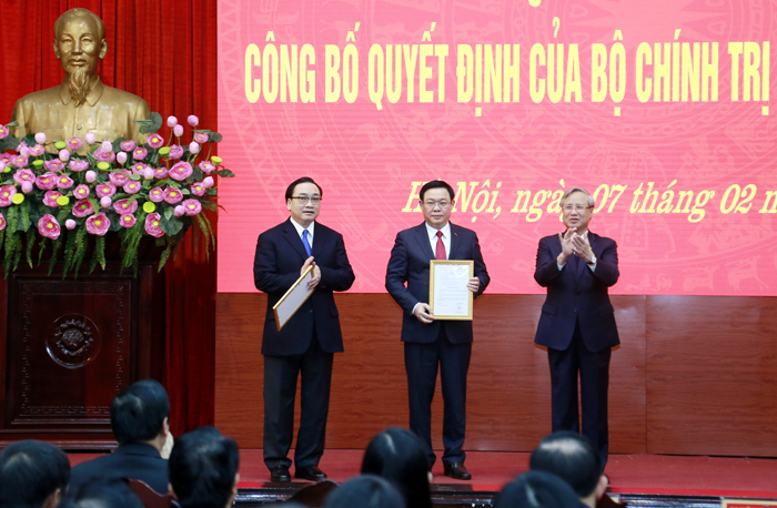 Phó Thủ tướng Vương Đình Huệ được phân công giữ chức Bí thư Thành ủy Hà Nội