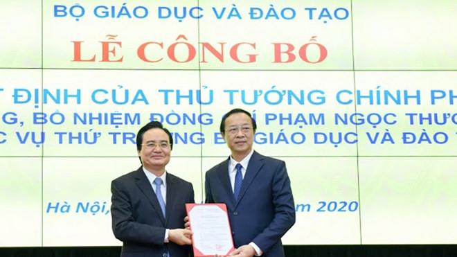 Công bố Quyết định điều động, bổ nhiệm tân Thứ trưởng Bộ Giáo dục và Đào tạo Phạm Ngọc Thưởng