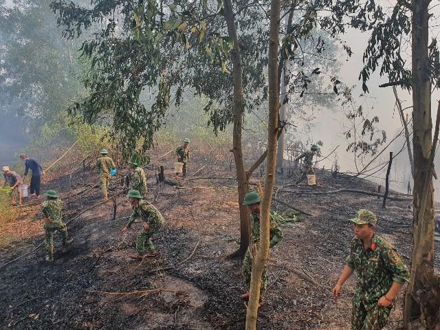 Kiên Giang Dập tắt vụ cháy 10 ha rừng chàm