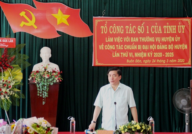 Đắk Lắk Kiểm tra công tác chuẩn bị Đại hội Đảng bộ huyện