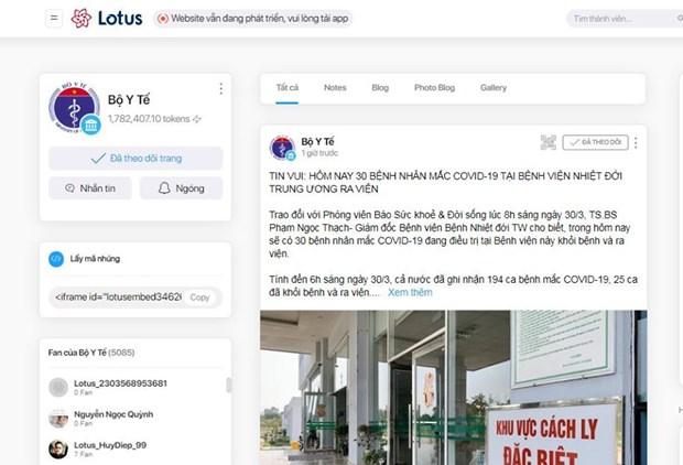Ra mắt trang tin của Bộ Y tế trên mạng xã hội Lotus