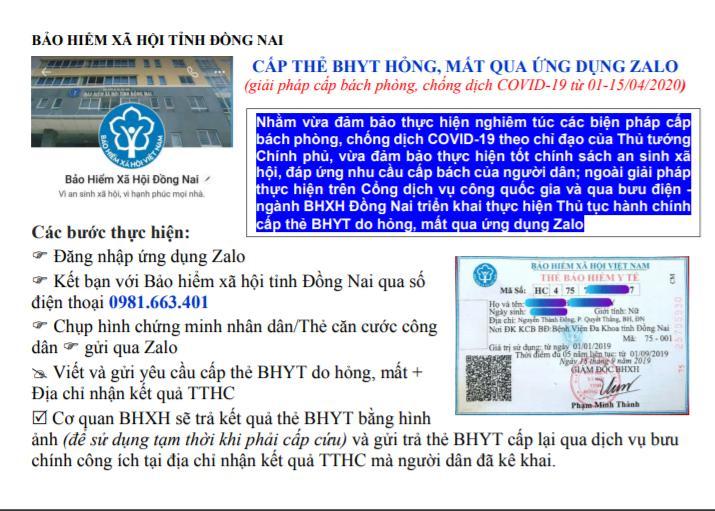 Đồng Nai Thực hiện cấp lại thẻ BHYT qua ứng dụng Zalo