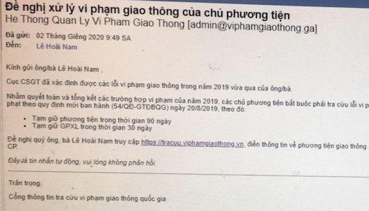 Cảnh báo lừa đảo xử lý vi phạm giao thông qua thư điện tử