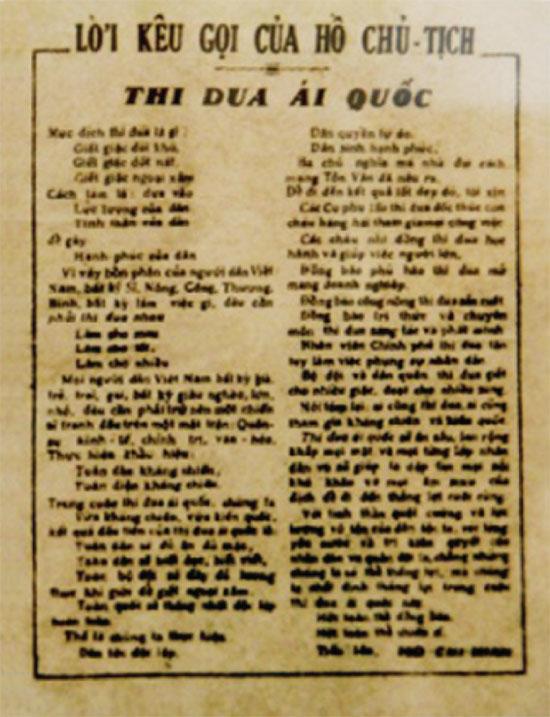 11/6/1948, Bác Hồ ra lời kêu gọi thi đua ái quốc