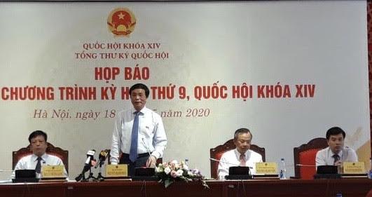 Kỳ họp thứ 9, Quốc hội khóa XIV khai mạc vào ngày 20 5