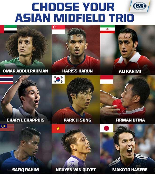 Văn Quyết vào nhóm tiền vệ hay nhất châu Á