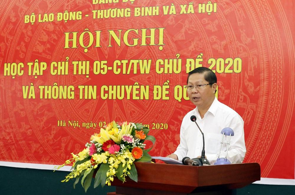 Đảng ủy Bộ LĐ-TB XH tổ chức học tập Chỉ thị số 05-CT TW chủ đề năm 2020