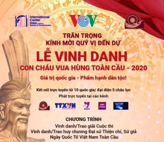 Tối 7 7 diễn ra Lễ vinh danh con cháu vua Hùng toàn cầu 2020