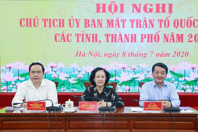 """Hội nghị Chủ tịch Ủy ban MTTQVN các tỉnh, thành phố Quyết tâm hơn, nỗ lực hơn để thực hiện """"nhiệm vụ kép"""""""