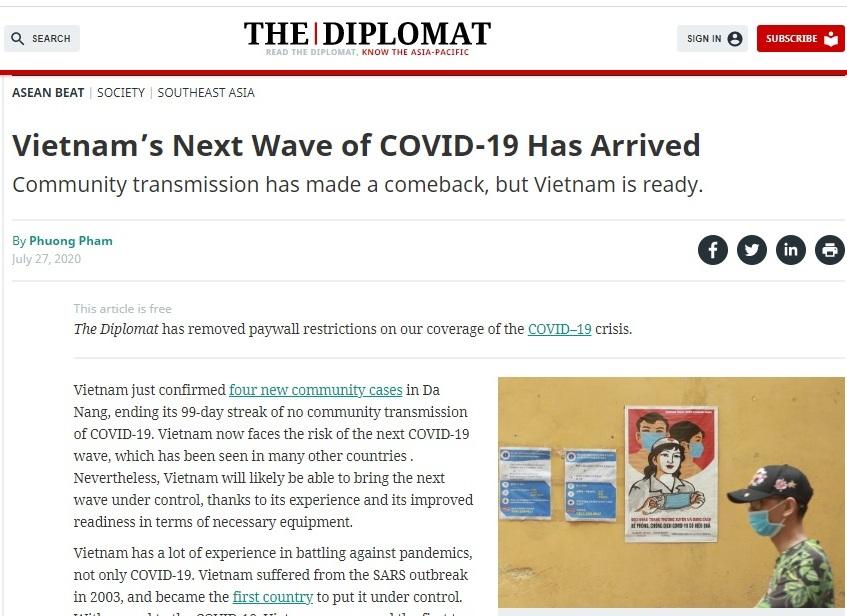 Truyền thông quốc tế tin tưởng Việt Nam sẽ kiểm soát tốt dịch bệnh