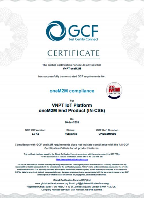 VNPT là đơn vị duy nhất tại Việt Nam đạt chứng chỉ quốc tế oneM2M
