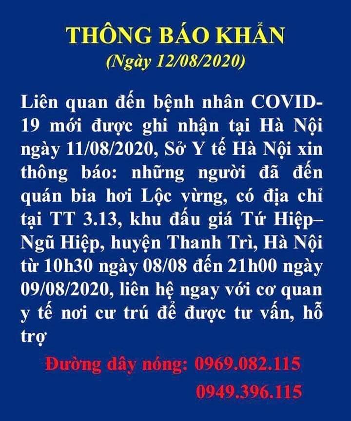 Hà Nội thông báo khẩn tìm người đến quán bia hơi Lộc Vừng