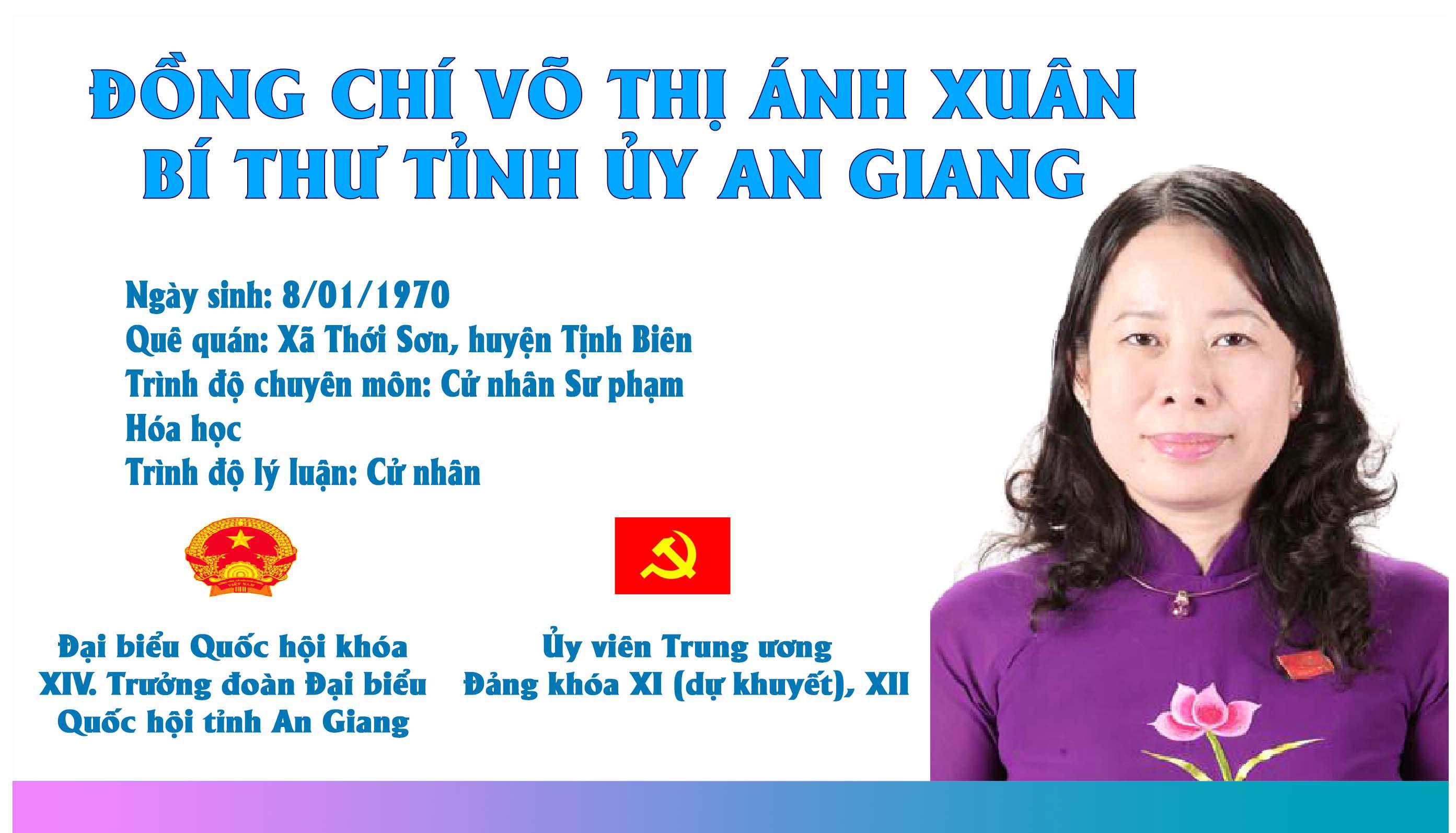 [Infographic] Chân dung Bí thư Tỉnh ủy An Giang Võ Thị Ánh Xuân