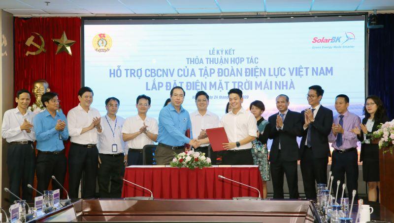 Thỏa thuận hợp tác giữa Công đoàn Điện lực Việt Nam và và Công ty CP ĐT  PT năng lượng mặt trời Bách Khoa