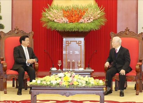Tổng Bí thư, Chủ tịch nước Nguyễn Phú Trọng tiếp Đoàn đại biểu cấp cao Chính phủ Lào