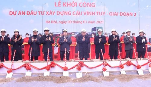 Khởi công Dự án đầu tư xây dựng cầu Vĩnh Tuy - Giai đoạn 2