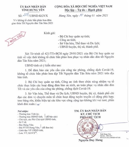 Hưng Yên Không tổ chức bắn pháo hoa đêm giao thừa Tết Nguyên đán Tân Sửu 2021