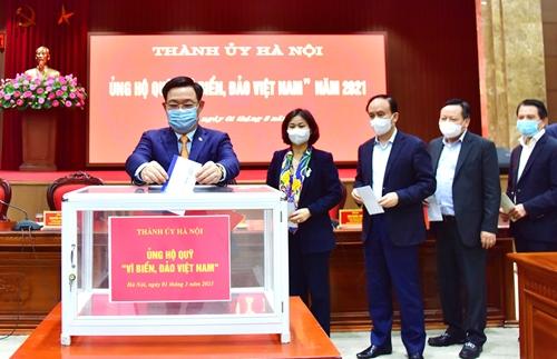 Thành ủy Hà Nội ủng hộ Quỹ  Vì biển, đảo Việt Nam  năm 2021