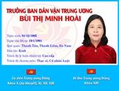 [Infographic] Chân dung tân Trưởng ban Dân vận Trung ương Bùi Thị Minh Hoài