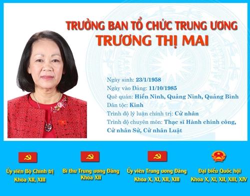 [Infographic] Chân dung tân Trưởng ban Tổ chức Trung ương Trương Thị Mai
