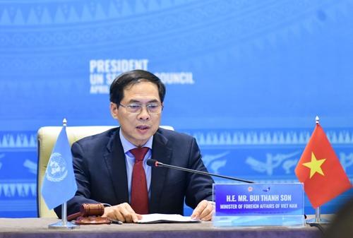 """Bộ trưởng Ngoại giao Bùi Thanh Sơn """"Bảo vệ cơ sở hạ tầng thiết yếu chính là nền tảng để xây dựng hoà bình bền vững"""""""