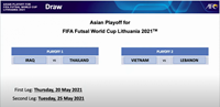 Tuyển Việt Nam gặp Lebanon tranh suất dự chung kết Futsal World Cup 2021